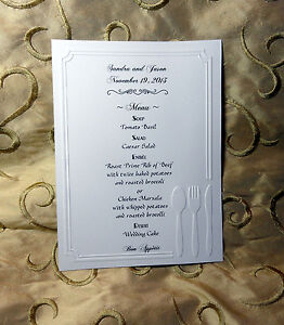 50 EMBOSSED MENUS + CUSTOMIZED PERSONALIZED FOR YOUR WEDDING OR PARTY