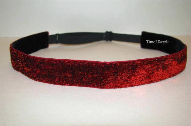 RED GLITTER Headband no slip adjustable Sparkle non sweaty Velvet Hair Bands