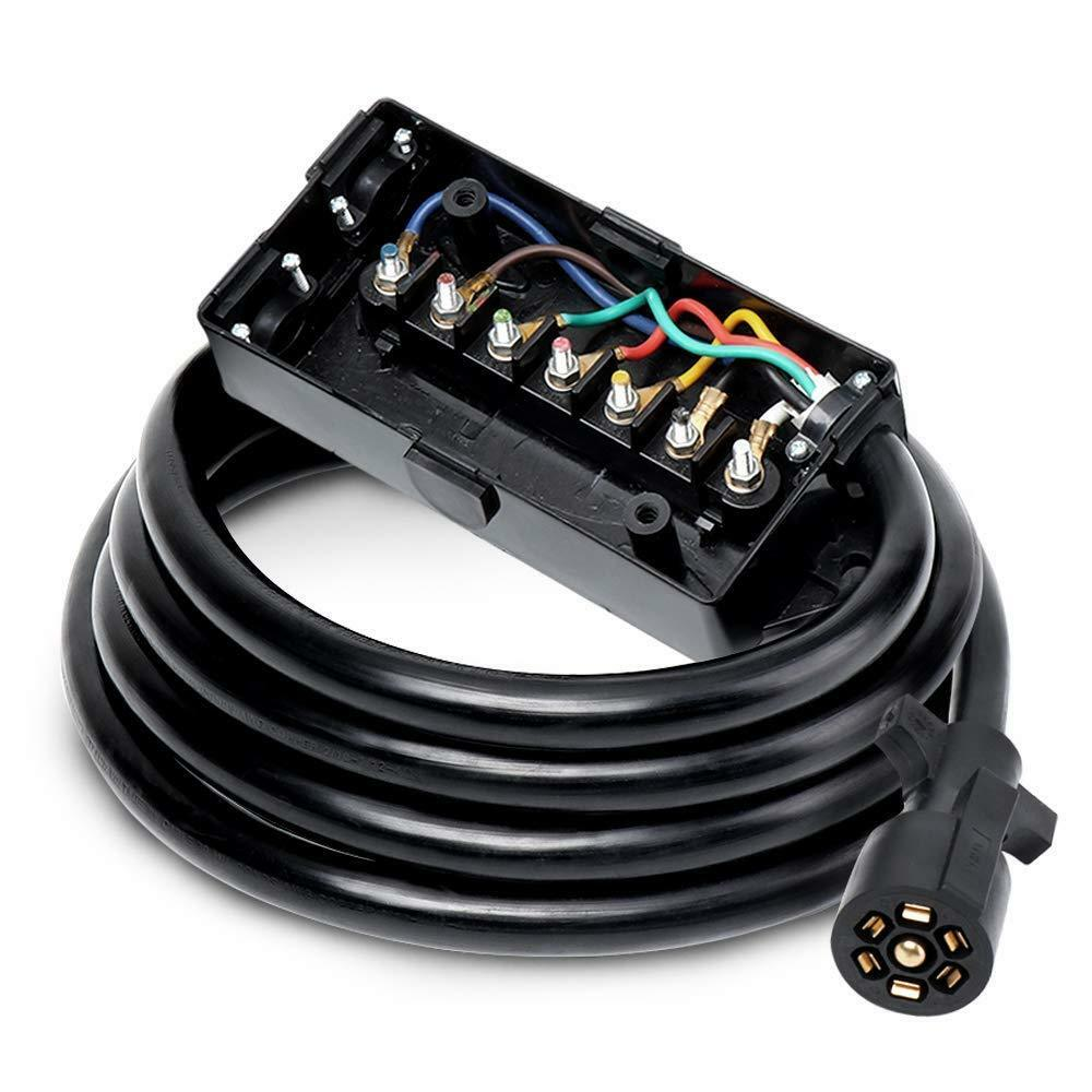 Pwr Heavy Duty 7 Way Plug Inline Trailer Cord with Double Prongs Connector Weatherproof UL Listed 8 Feet