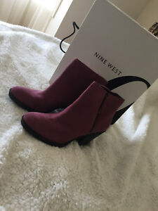 Nine-West-ankle-boots-suede-in-on-trend-rich-cherry-pink-amp-zippered-fastening