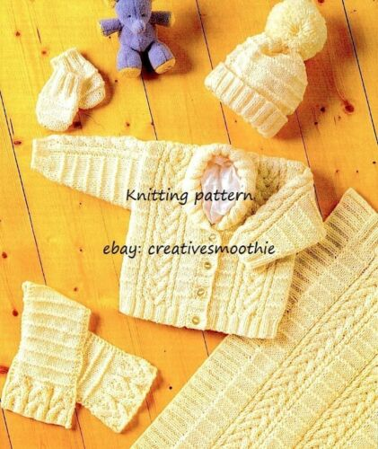 Scarf Hat Blanket Aran Knitting Pattern 195 Mittens Baby Cabled Jacket