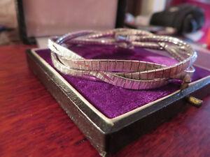 Schoenes-835-Silber-Armband-Geflochten-Zopf-Funkelnd-Jugendstil-Art-Deco-Modern