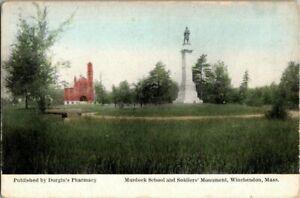 1915-MURDOCK-SCHOOL-AND-SOLDIERS-MONUMENT-WINCHENDON-MASS-POSTCARD-KK2