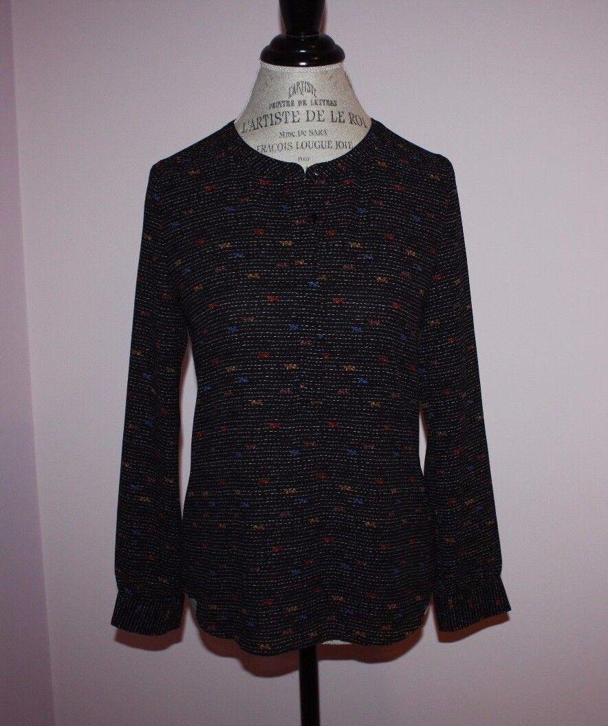 NWT damen NYDJ schwarz Printed Woven Long-Sleeve Tunic Blouse Shirt Größe P XS