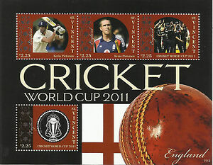 ST-VINCENT-2011-ICC-CRICKET-WORLD-CUP-ENGLAND-TEAM-KEVIN-PIETERSEN-4v-Sheet-MNH