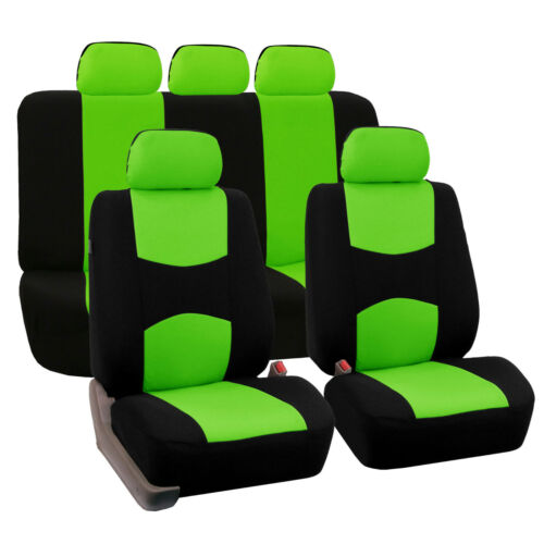 Flat Cloth Auto Car SUV Seat Covers Green Black Full 2 Row Set for Solid Benches