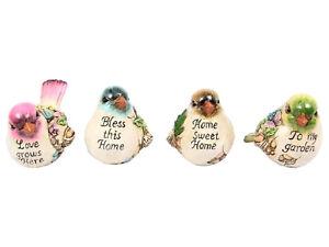 Set-of-4-Pretty-Inspirational-BIRDS-Figurine-Ornament-Home-Decor-Garden-Pots
