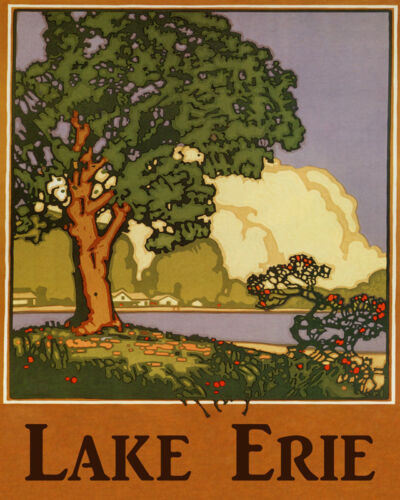 POSTER TRAVEL LAKE ERIE GREAT LAKES CABINS BEACH FISHING VINTAGE REPRO FREE S//H
