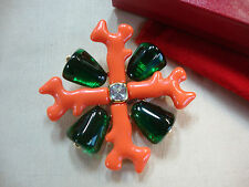 KJL by Kenneth Jay Lane Coral & Emerald Maltese Cross Brooch