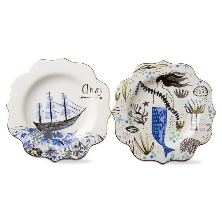 Mermaid and Ship Ahoy Appetizer Plates Set of 2 by Tag New Stoneware