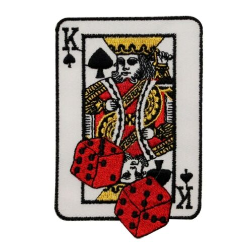 ID 0093 King Of Spades Patch Dice Card Gamble Casino Poker Hand Iron On Applique