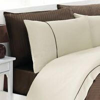 Striped Satin Quality Quilt Cover Bedding Set - Brown/Cream - Single