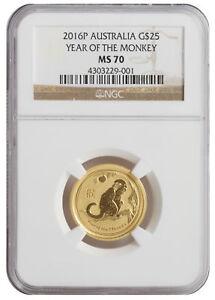 2016-P-25-1-4oz-Gold-Australian-Year-of-the-Monkey-MS70-NGC-Brown