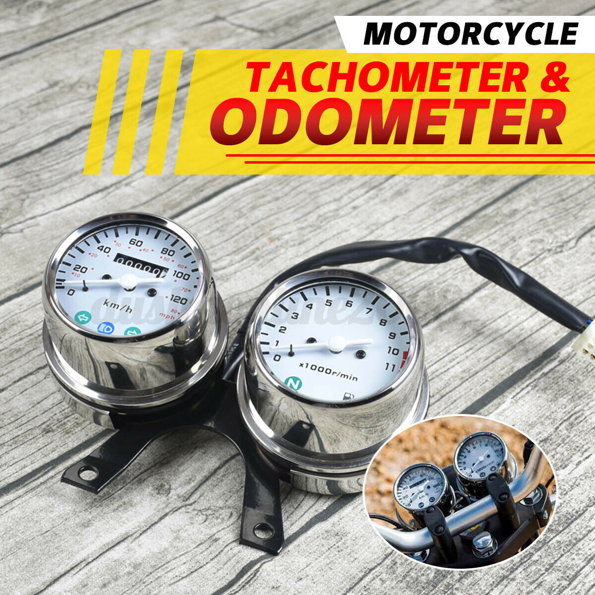 Universal Motorrad LED Digital Tacho Drehzahlmesser /Ölstandsanzeige Schwarz Motorrad LED Digital Tacho Drehzahlmesser Motorrad Tacho