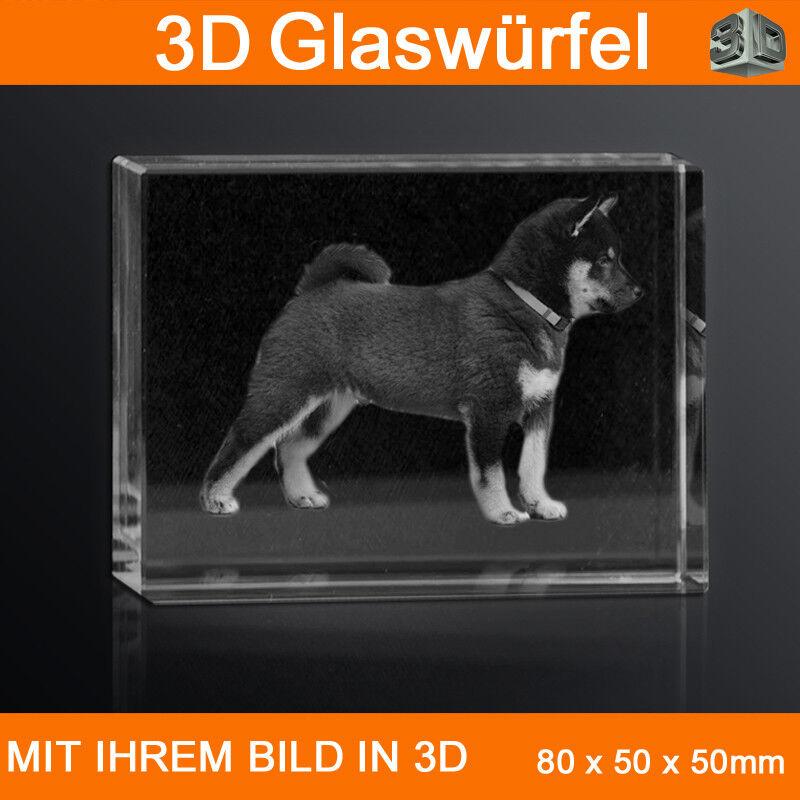 R80 Glas 3D Laser Gravur Foto 2D zu 3D Kleidung Hund Weihnachten Niedlich Welpen   | New Listing