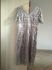 reputable site 9fc79 f72d1 Dettagli su Vestito da cerimonia in pizzo grigio con fascia argento elegante