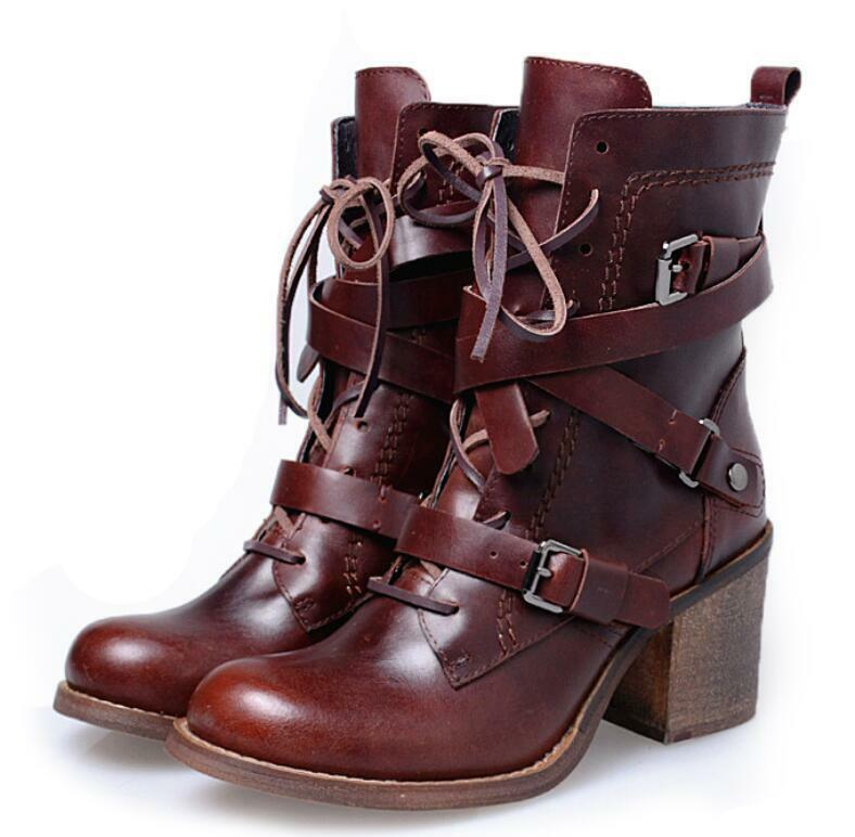 Women Real Leather Lace Up Buckle Block Heel High Top Ankle Riding Boots shoes E8
