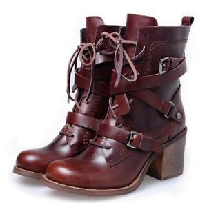 B Vogue Bottes Bloc D'équitation Femmes Hautes Boucle Chaussures À Talon Véritable Cuir Lacets jqUVGzMLSp