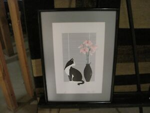 Katherine E Parker Cat Serigraph Signed Le 315 400 Framed And Matted 18x25 Ebay