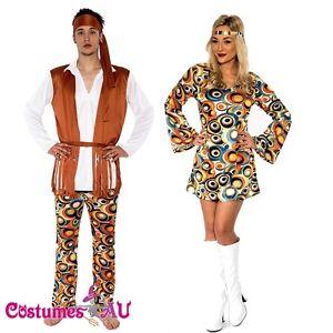 Licensed Mens Ladies 60s 70s 1970s Retro Hippie Go Go Disco Costume Fancy Dress