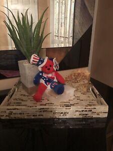 NWT USA Bear Authentic United We Stand Unity Bear Beanie Baby Plush Teddy Toy
