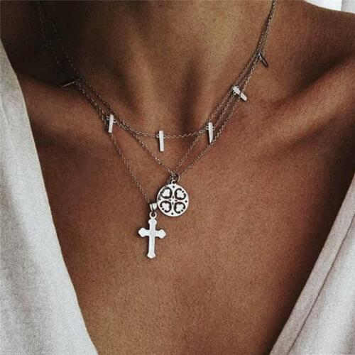 Fashion Multi-Layer Chain Charm Alloy Cross Pendant Necklace Jewelry For Women W