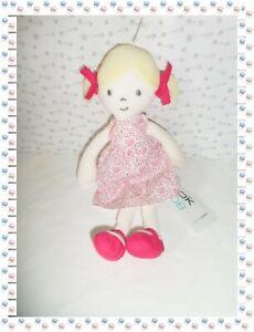 Doudou-Poupee-Chiffon-Blonde-Robe-Blanche-Coeurs-Noeud-Obaibi-Okaidi