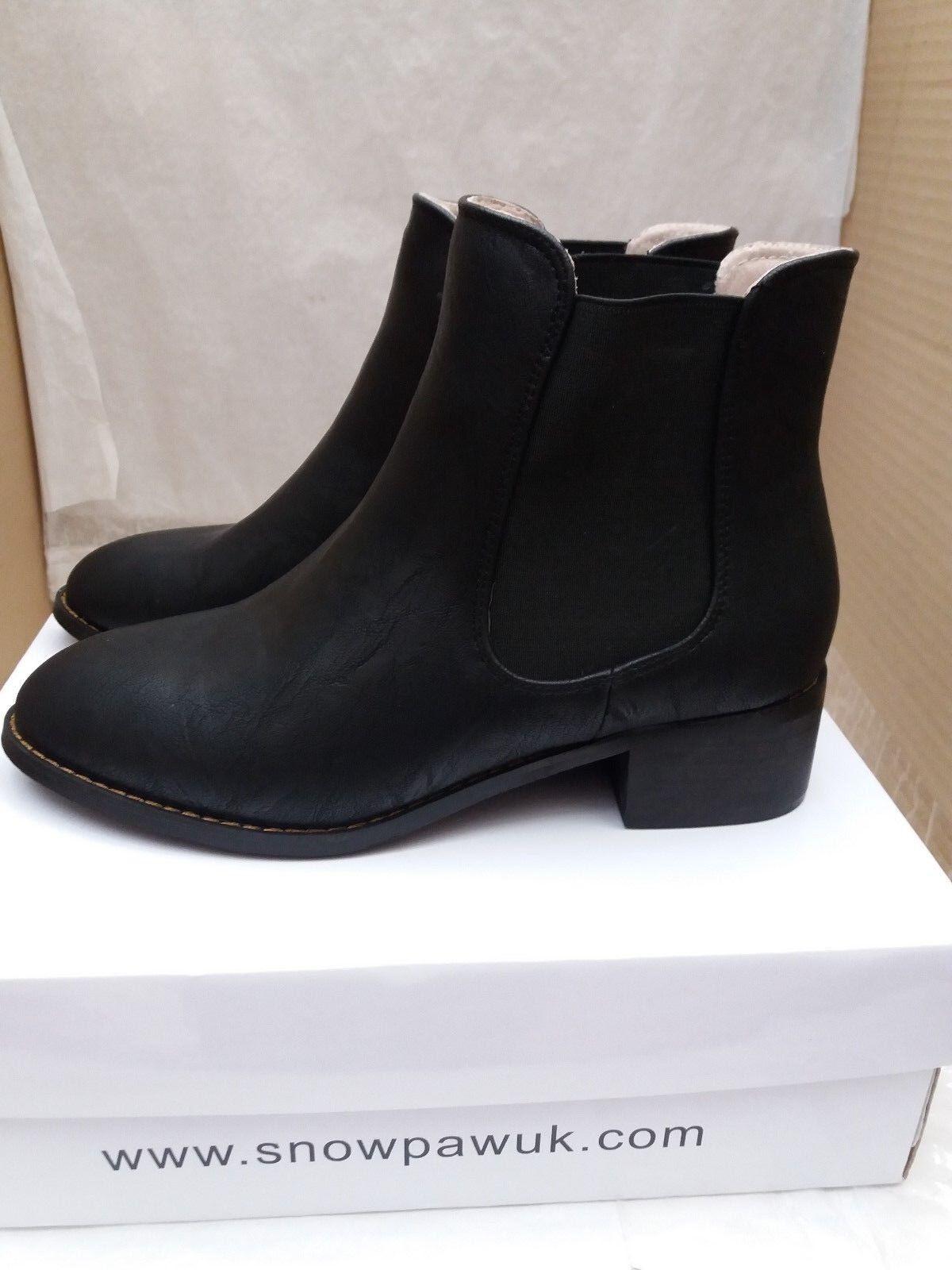 Neige patte de femmes en cuir noir Bottines Chelsea - 5945-UK 5