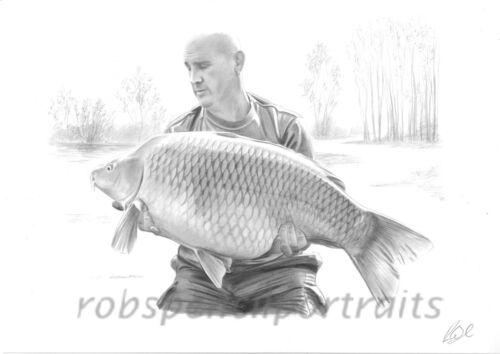 Hand Drawn FISHING PORTRAIT By Angling Artist Robin Woolnough Bespoke Gift