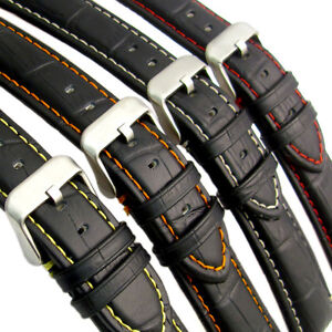 Padded-Alligator-Grain-Leather-Watch-Strap-Band-Coloured-Contrast-Stitching-C027
