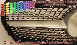 Chrome-Oil-Slick-Rainbow-Sticker-Decals-for-Mercedes-Cla-Urban-Diamond-Grill
