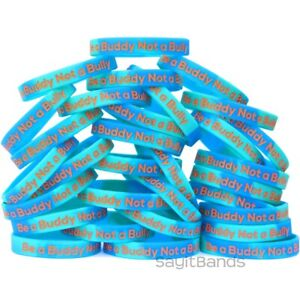 100 Be A Buddy Not Bully Wristbands