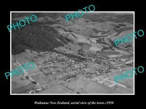 OLD-LARGE-HISTORIC-PHOTO-WAIKANAE-NEW-ZEALAND-AERIAL-VIEW-OF-THE-TOWN-c1950-1