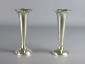 2-Vintage-Vases-Plated-Silver-Edge-A-Flower-Period-Xx-Century
