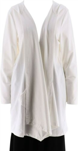 Denim /& Co Knit Open Front Hooded Jacket Pockets Long Slv White XL NEW A277646