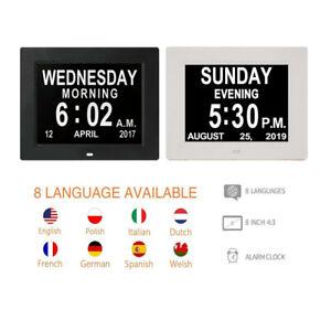 8'' LED Dementia Digital Calendar Day Clock Large Letter Week/Month/Year Gift