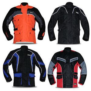 New Mens Armoured Cordura Motorbike Jacket Quilted Waterproof Reflective Bikers