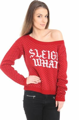 Ladies Women Knitted Wide Neck Sleigh What Christmas Xmas Red Jumper Top Sweater