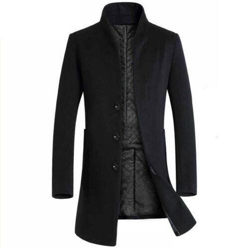 Men/'s Trench Coat Slim Fit Laine Veste à manches longues pardessus à boutonnage simple