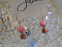 Jilzara Premium Clay Double 8mm Beads Vintage Pink Crystal Earrings