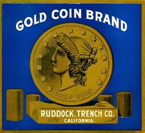 Los Angeles Gold Coin Liberty Orange Citrus Fruit Crate Label Art