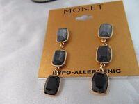 Monet Gold Light & Dark Blue Rectangle Triple Earrings, Stunning