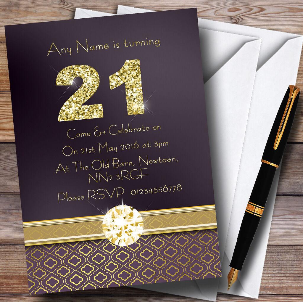 Satin violet et invitations or 21ème Fête D'anniversaire Personnalisé invitations et 28f41e