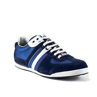 Hugo Boss Men's Shoes Akeen Fashion Sneakers Leather Suede Medium Blue