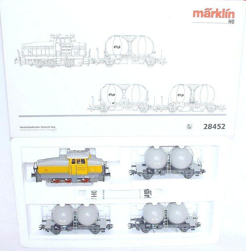 Marklin HO AC holandés NS railbouw Leerdam Locomotora + cemento Vagón Set MIB`90
