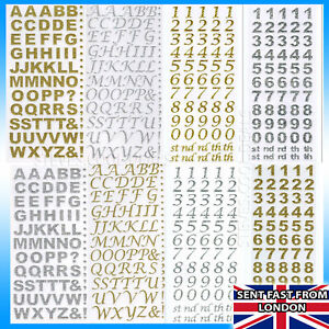 Glitter Diamante Craft Stickers Alphabet Letters Numbers Silver Gold Card Craft