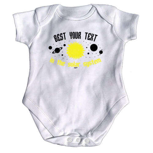Funny Baby Infants Babygrow Romper Jumpsuit Best Your Text In The Solar System