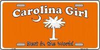 Carolina Girl Orange Metal Novelty License Plate