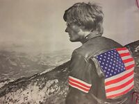 Easy Rider Blacklight Poster Easy Peter Fonda Us Flag Leather Jacket 1970's