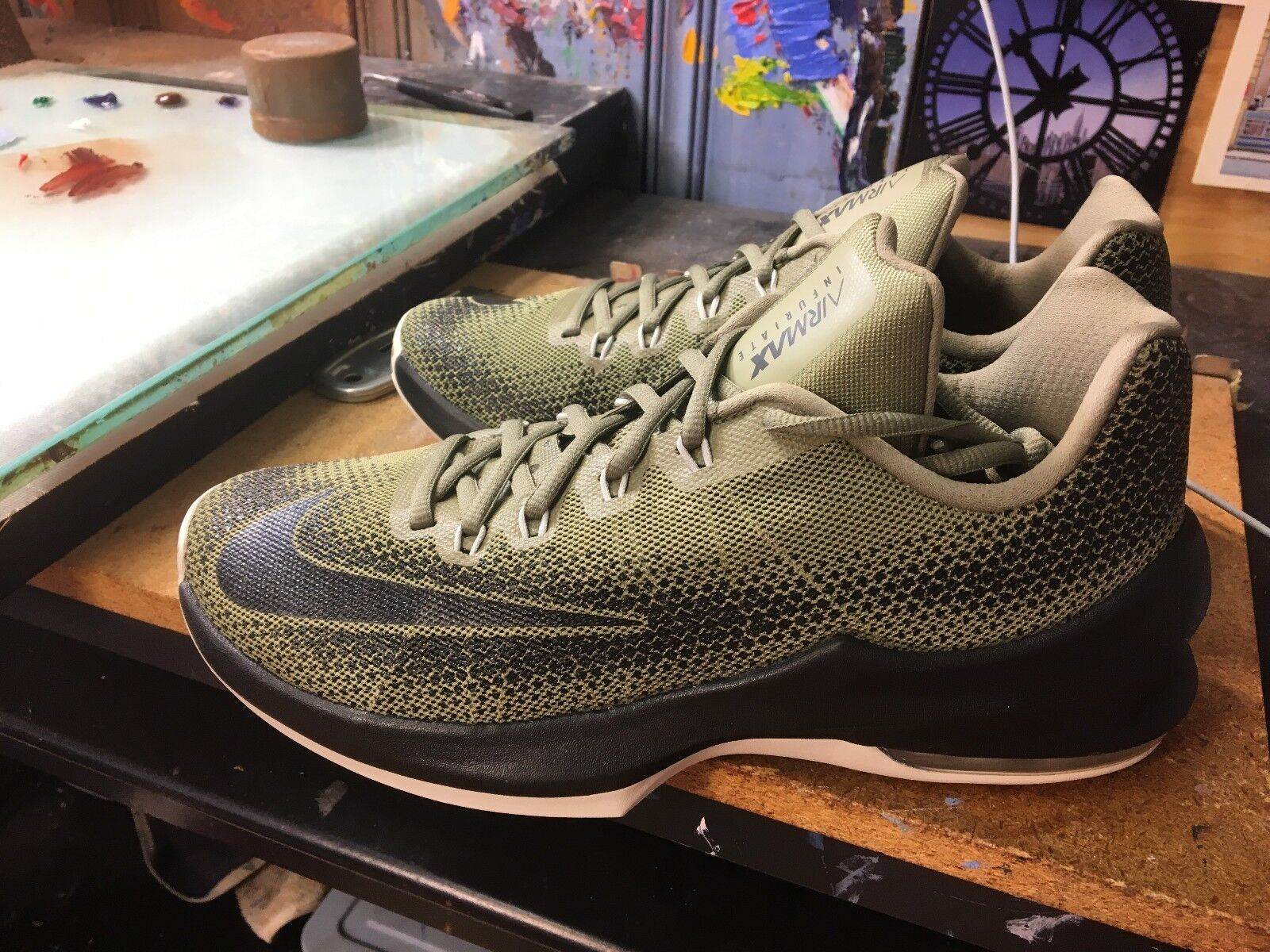 Nike Air Max Infuriate Low Trooper/Black-Cargo Khaki Size US 8.5 Men 852457 200